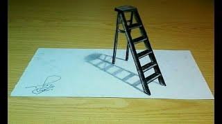 ladder 3D drawing - 3D optical illusion