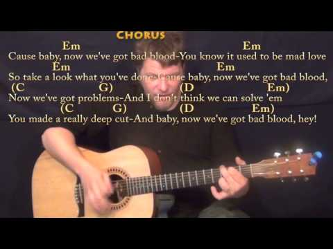 Bad Blood Remix (Taylor Swift) Strum Guitar Cover Lesson with ...
