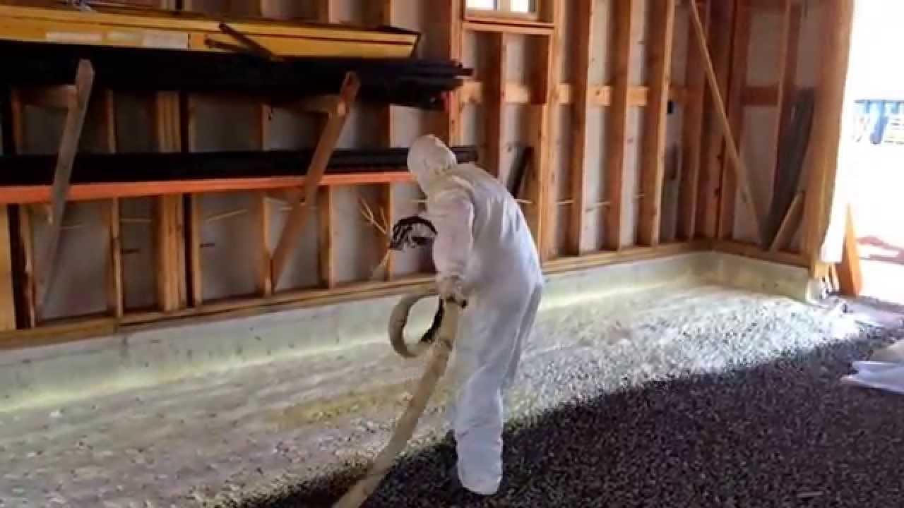 Spray foam garage floor slab youtube for Concrete foam insulation