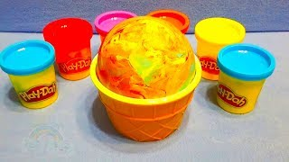 4 COLORS Play Doh DIY Ice Cream Cups Learn Colors Surprise Eggs