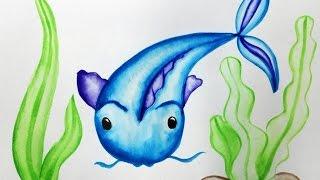 Как нарисовать поэтапно рыбу (сома) -  уроки рисования акварелью для малышей от Варвары Зуевой