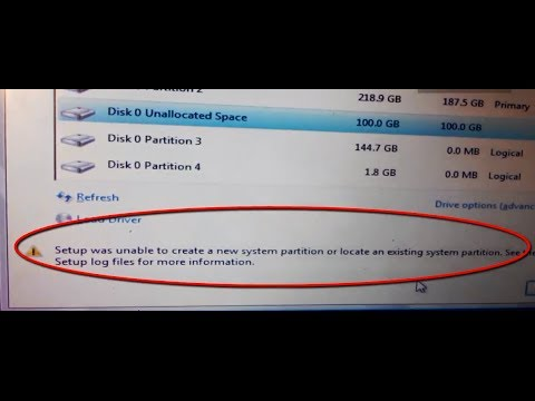 """How to fix """"Setup was unable to create a new system partition"""" error installing Windows server"""