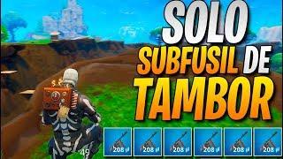 GANANDO SÓLO con SUBFUSIL DE TAMBOR! FORTNITE: Battle Royale Challenge