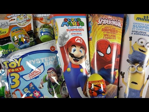 SCHOOL CANDY CONE - Toy Story Minions Ben 10 Super Mario Monster Ink Spider-Man Surprise Eggs Bag