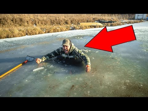 I FELL THROUGH The ICE In My BACKYARD POND!!! (Dangerous)