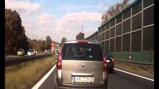 Blokowanie lewego pasa-Będzin, Zagłębie Dąbrowskie.