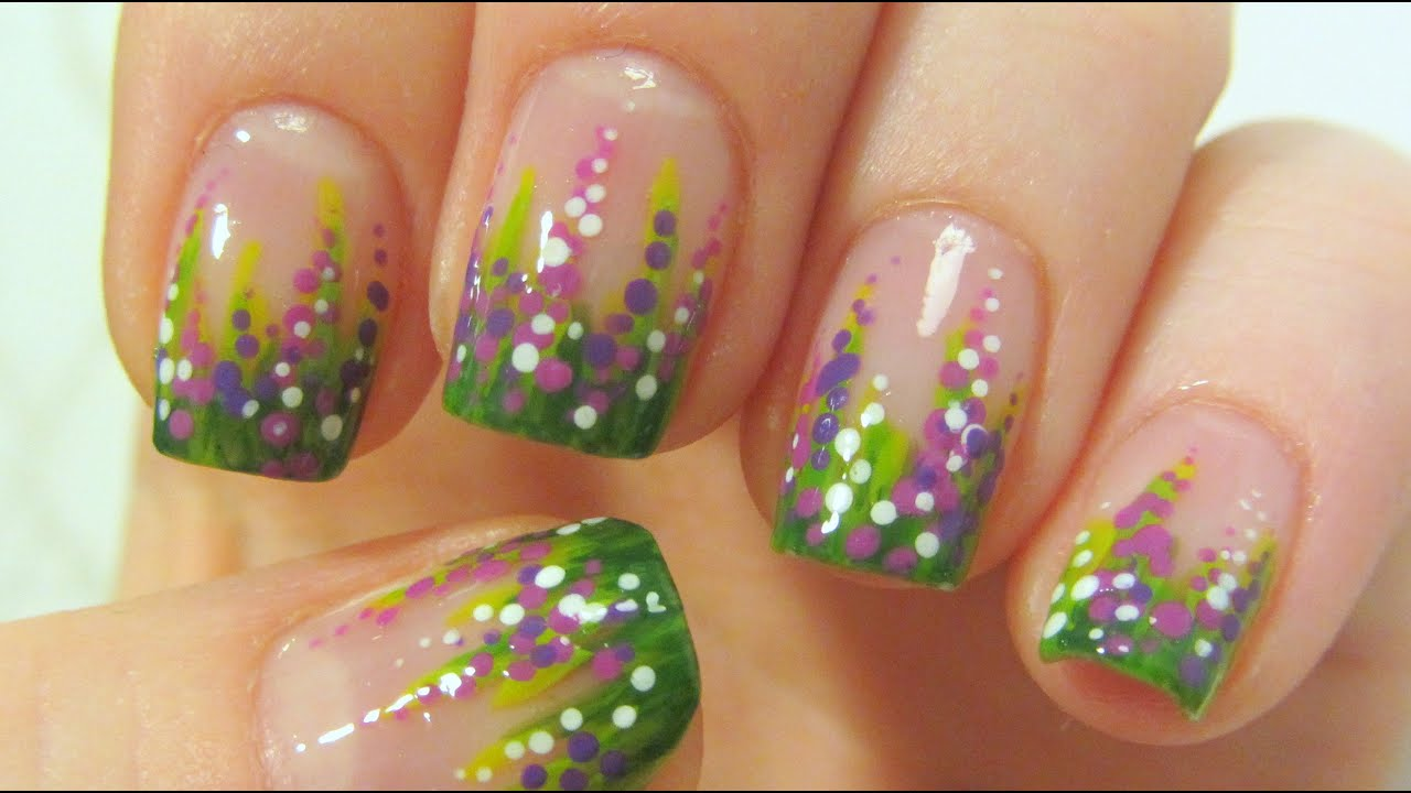 Autumn Calluna Flower Design For Short Nails In Green Purple