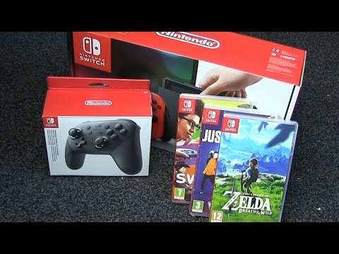 Thumbnail: NINTENDO SWITCH CONSOLE UNBOXING - Games & Pro Controllers