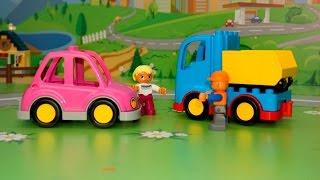 Видео с игрушками для детей - Молния разрушила дом. Мультфильмы про рабочие машины.