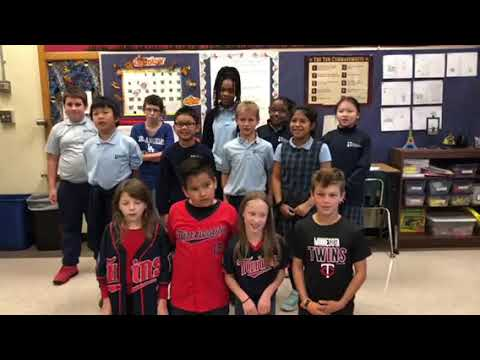 Maternity of Mary - Saint Andrew Catholic School singing Twins rally song