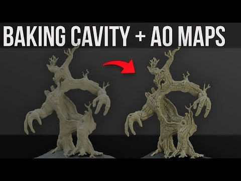 Baking Cavity + Ambient Occlusion Texture Maps   2019   Blender 2.8