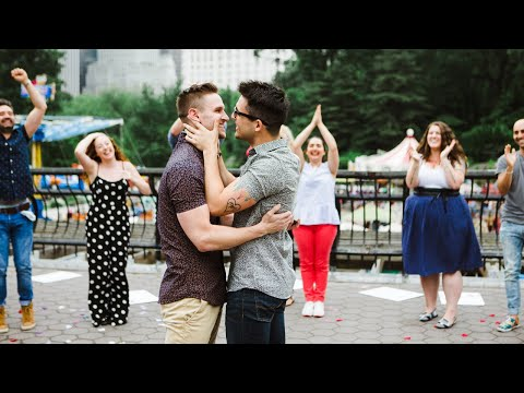 NYC Broadway Boyfriends Flash Mob Proposal  Chris Rice & Clay Thomson