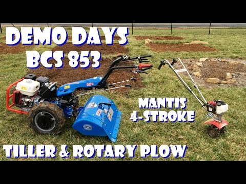 BCS 853 Tractor: Rear-Tine Tiller and Rotary Plow + Mantis 4-cycle - Demo Days