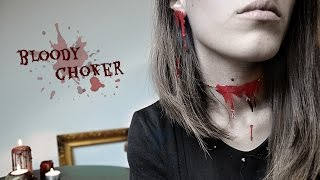 Halloween DIY: Blood Choker Necklace & Bloody Earrings - blutige Kette und Ohrringe [eng subs] 2017 Video