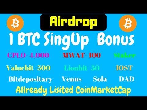 1 BTC Singup Bonus | CPLO 4000,MWAT 100,ValueBit 500,LionBit 50 And More Airdrop With CrypioBikash