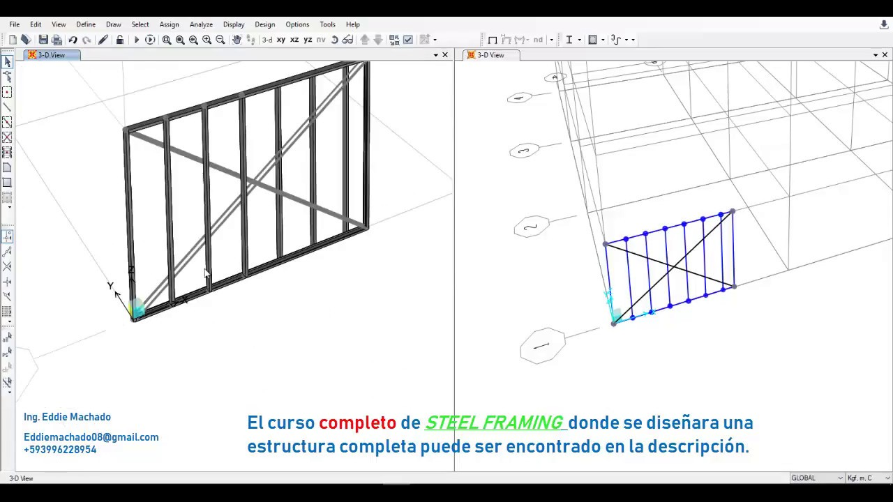 Sap2000: Diseño de muro de steel framing (Cold formed steel) - YouTube