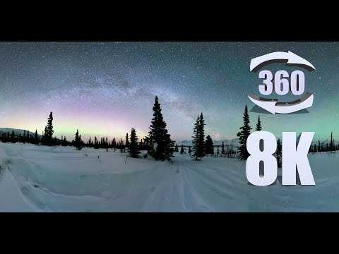 8K 360 VR footage of the Northern Lights and Milky Way over Eureka, AK
