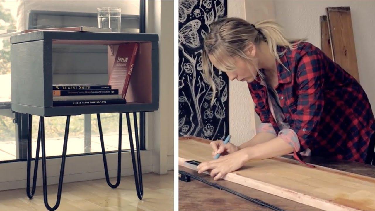 design nachttisch | diy | tisch mit haarnadelbeinen selber machen, Schlafzimmer entwurf