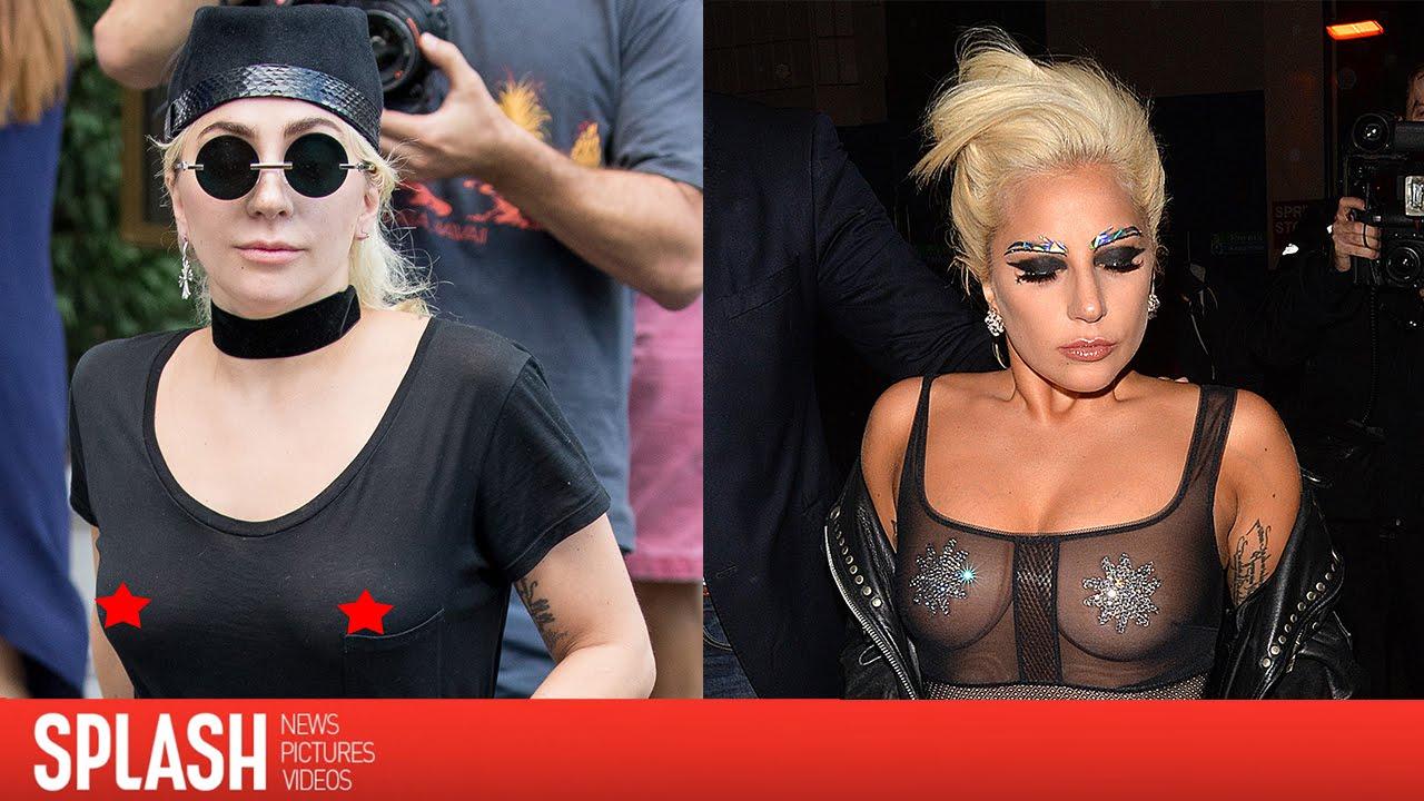 lady gaga wears see-through shirt in new york | splash news - youtube