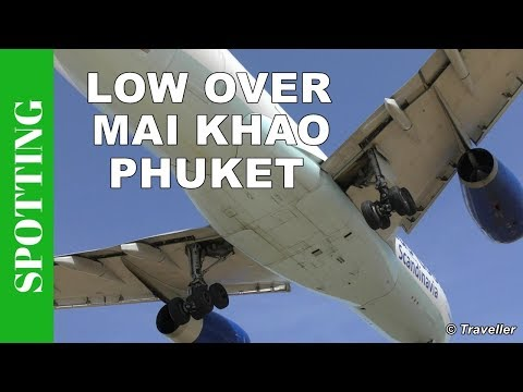 Low overhead Thomas Cook landing at Phuket Airport  – Spotting from Mai Khao Beach