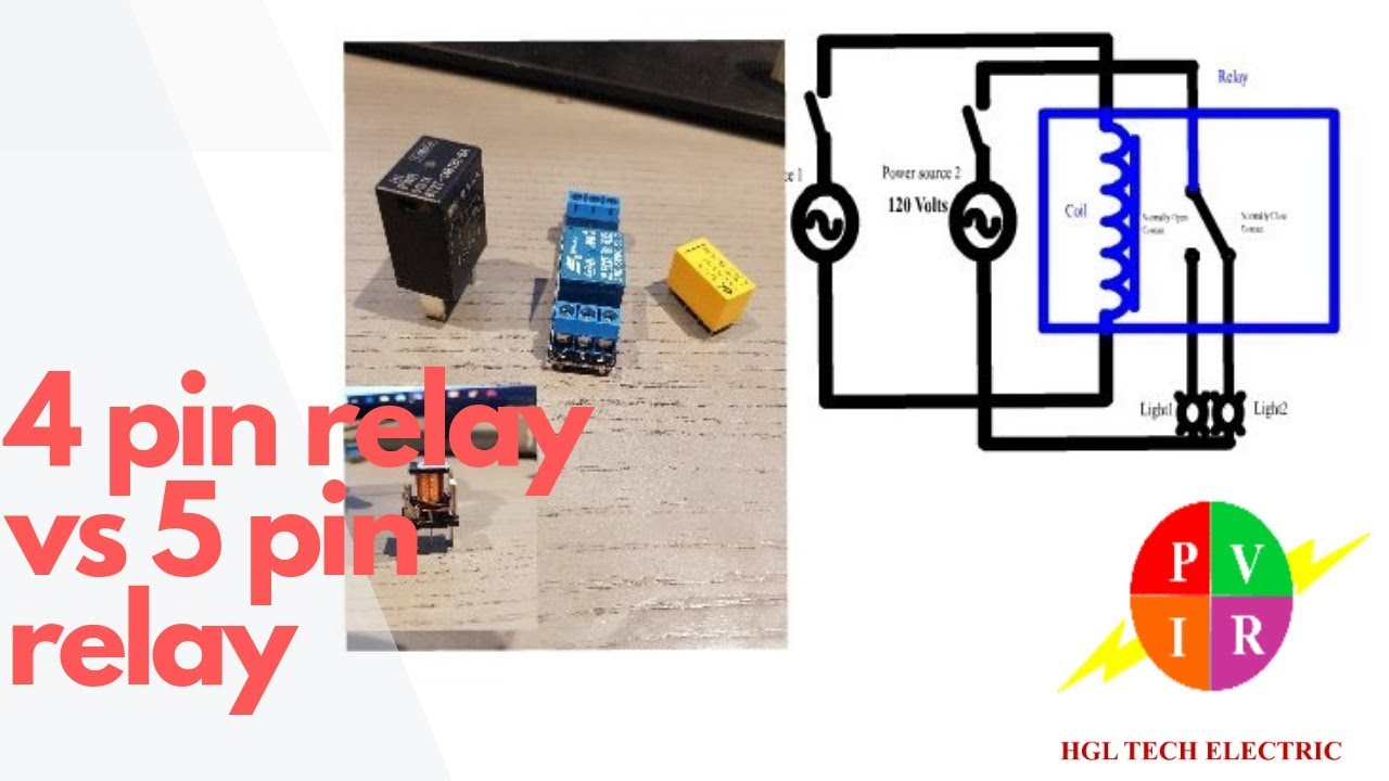 4 pin relay vs 5 pin relay. 4 pin relay and 5 pin relay wiring diagram.  Wire Relay Schematic on