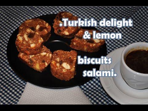 Turkish delight & lemon biscuits salami/ salam de biscuiti de post / keks salama posno