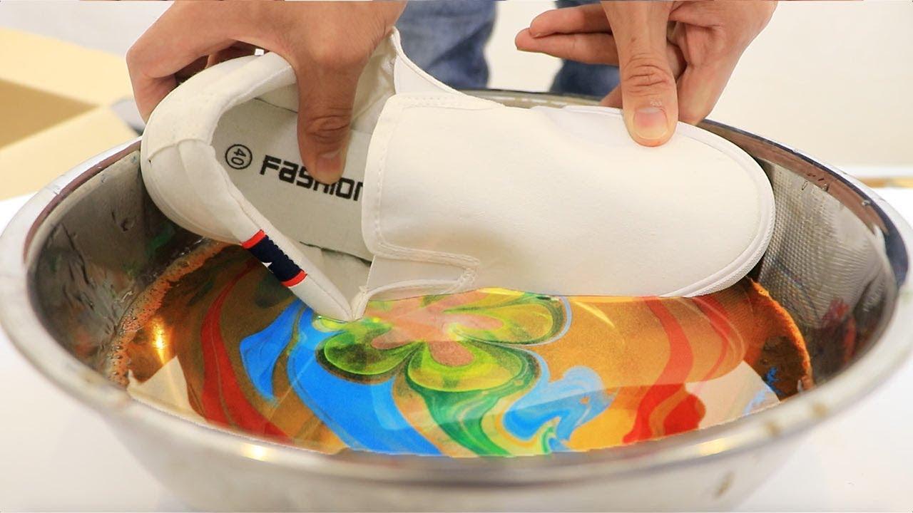 【凄技】一瞬で靴に模様を入れる液体がすごすぎた!