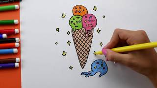 How To Draw and Coloring Ice Cream for Kids. Ice Cream Coloring pages for children
