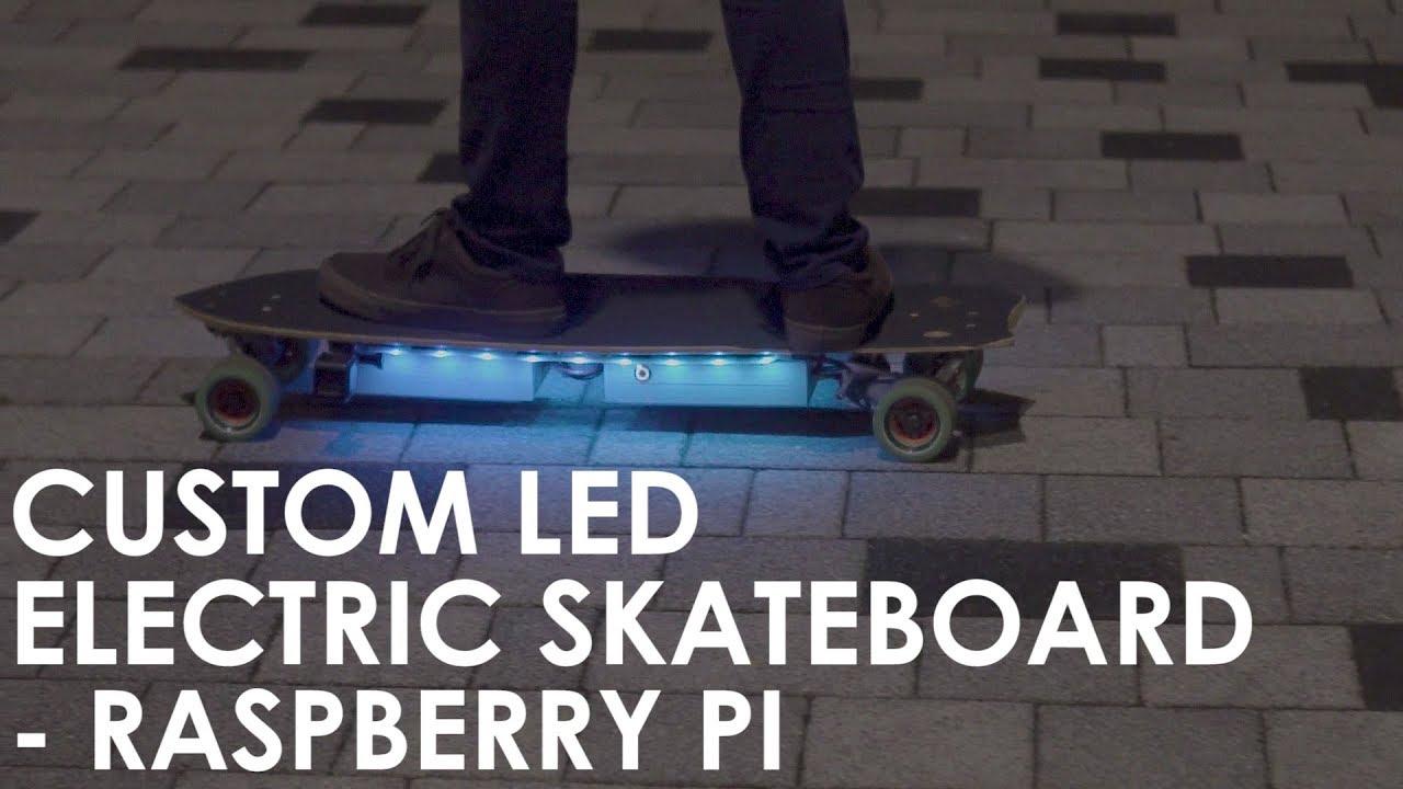 Custom LED Lights on DIY Electric Skateboard - Raspberry Pi/Arduino Powered