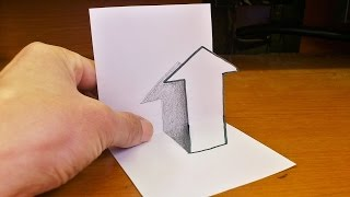 Very Easy!! How To Draw 3D Arrow for Kids - Anamorphic Illusion - 3D Trick Art Drawing on paper