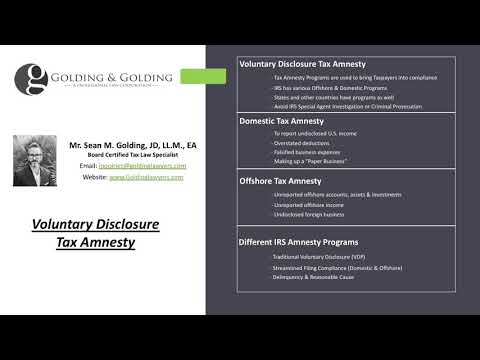 Voluntary Disclosure Tax Amnesty - 2020 Taxpayer Program Options for Domestic & Offshore Disclosure