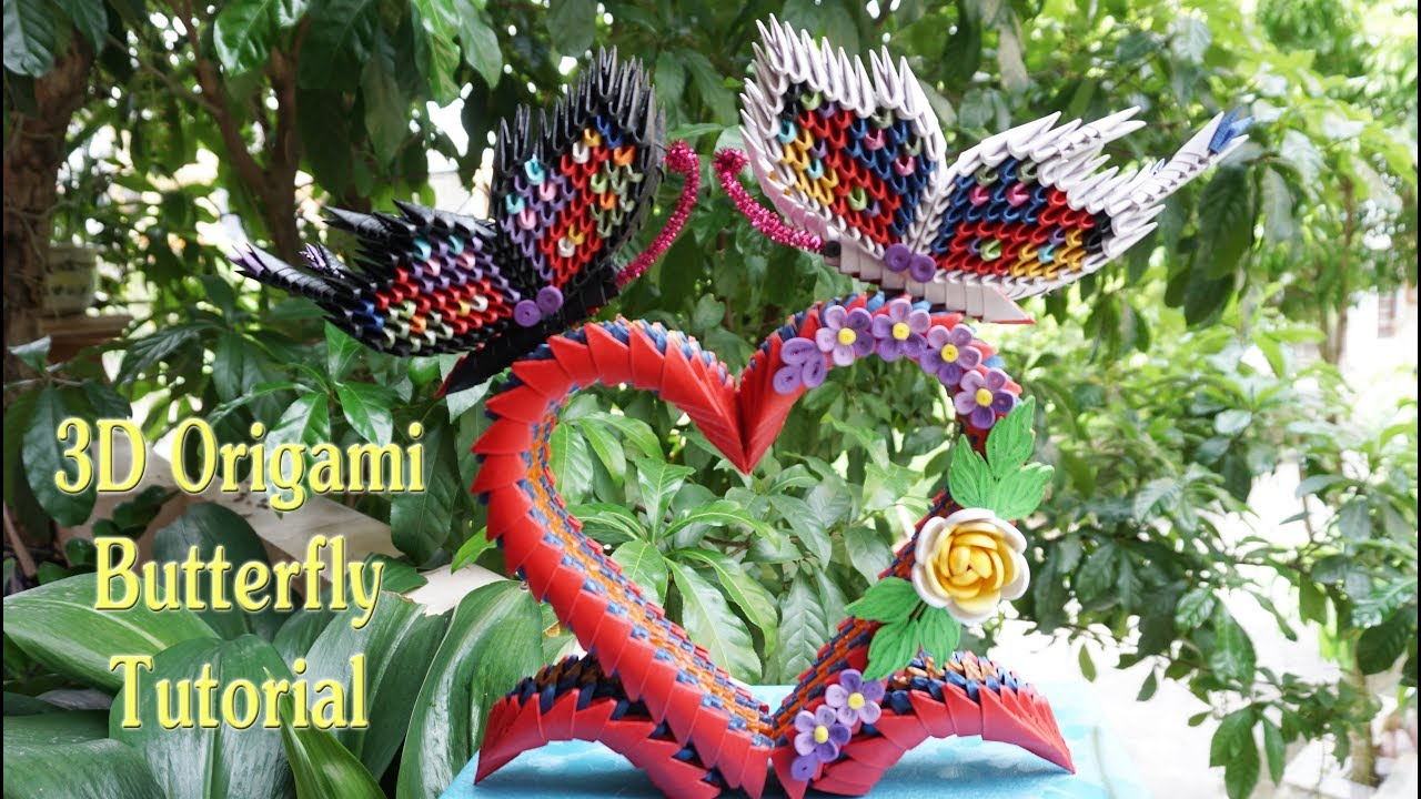 3D Origami Butterfly On Heart Stand Tutorial