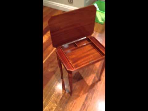 """European parquetry dressing table with swiss music box playing """"Isle of Capri"""""""