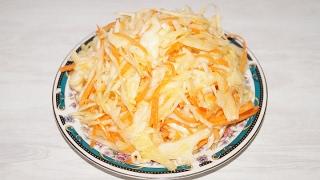 Простой салат из капусты за 10 минут.Очень вкусный.