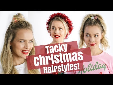 Easy Tacky Christmas Hairstyles Tutorial - KayleyMelissa - YouTube