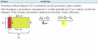 Egzamin ósmoklasisty. Zadanie 36. Równanie w zadaniu geometrycznym | MatFiz24.pl