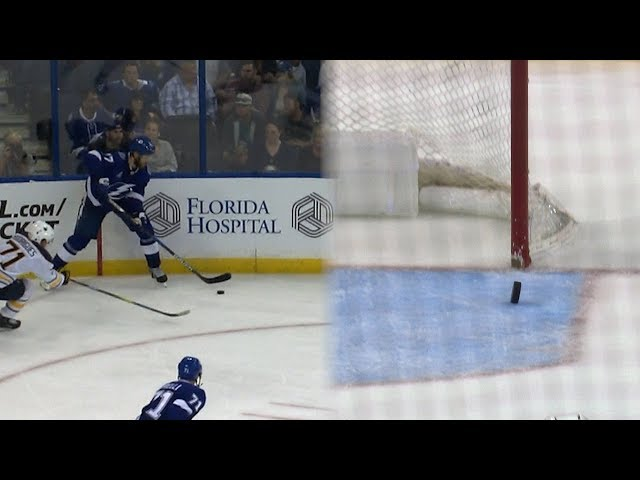 Victor Hedman curves home empty-net goal from own zone