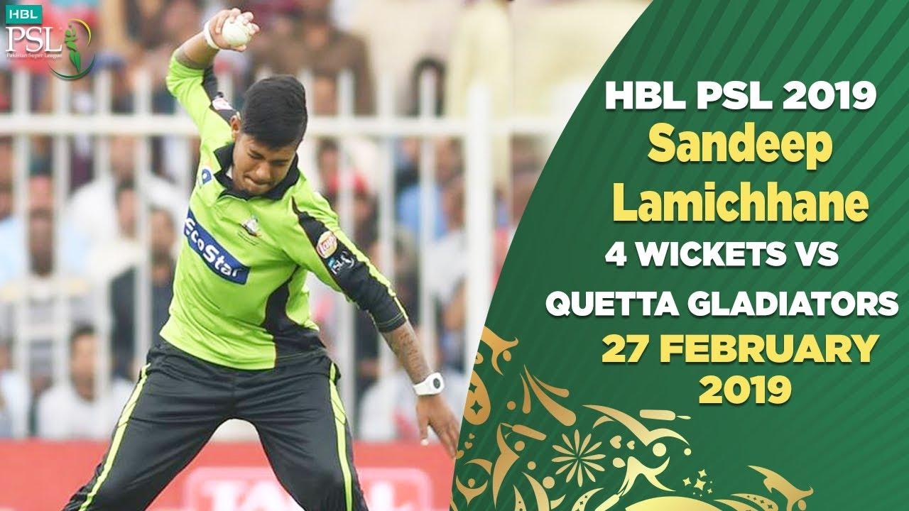 Sandeep Lamichhane 4 wickets vs Quetta Gladiators   27th Feb   HBL PSL 2019