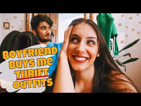 Boyfriend buys me THRIFT OUTFITS!!