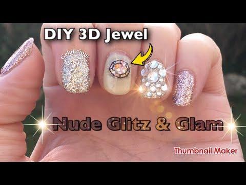 DIY 3D Jewel | Nude Glitz & Glam Nail Art | WOMN