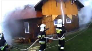[HelmetCam] Pożar drewnianego budynku w Żabnicy - OSP Cięcina /// www.zywiec998.pl