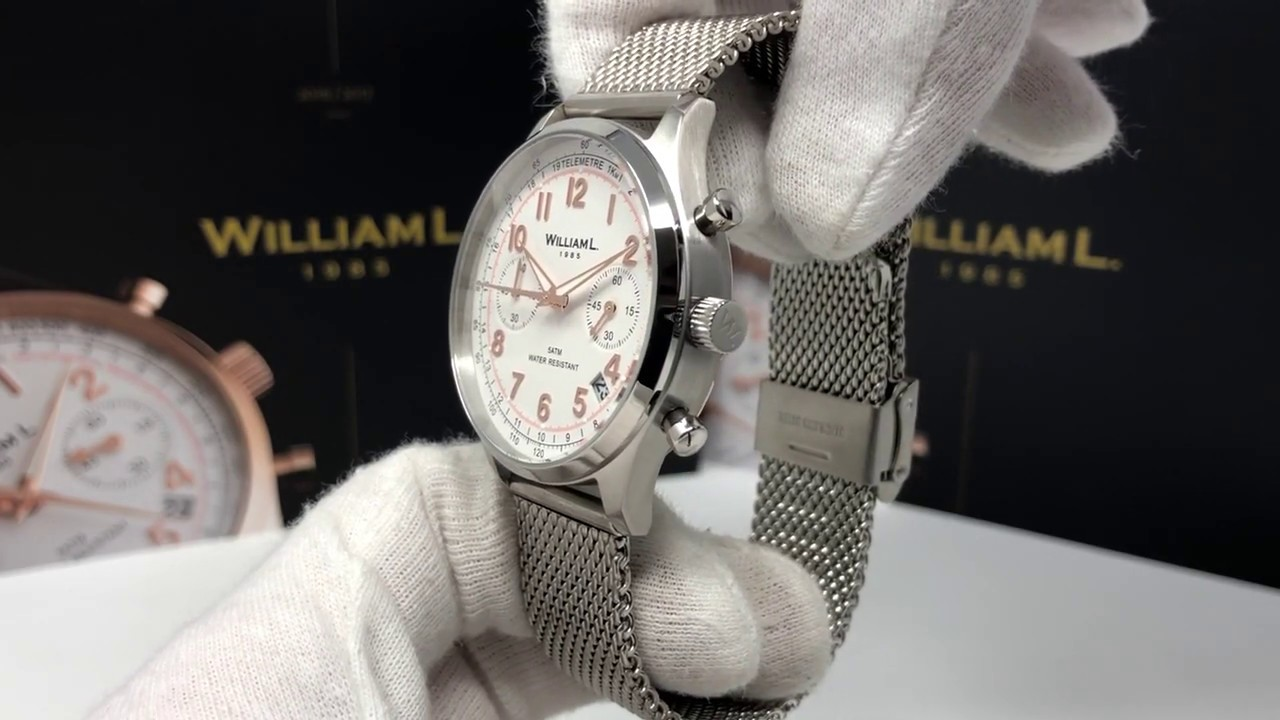 ec0b037bc William L. 1985 Quartz Watch Vintage Style Chronograph White Dial with  Stainless Steel Mesh Band