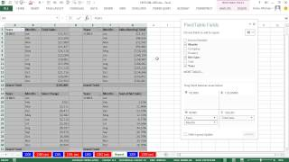 Excel Magic Trick 1203: 2 Slicers Control 4 PivotTables: Sum, Running Total, Change and % Change