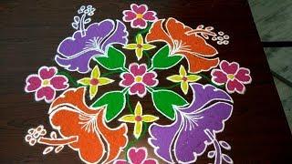 Sankranthi dhanurmasam chukkala muggulu (15*1)/ new year 2019 colour rangoli designs/latest marghazi