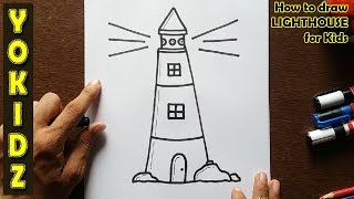 How to draw LIGHTHOUSE for kids