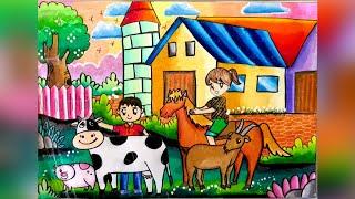 Cara gradasi warna oil pastel Tema Farm Animal ( speed drawing )