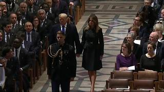 PRESIDENT TRUMP And Melania Trump Enter Funeral For George H.W. Bush