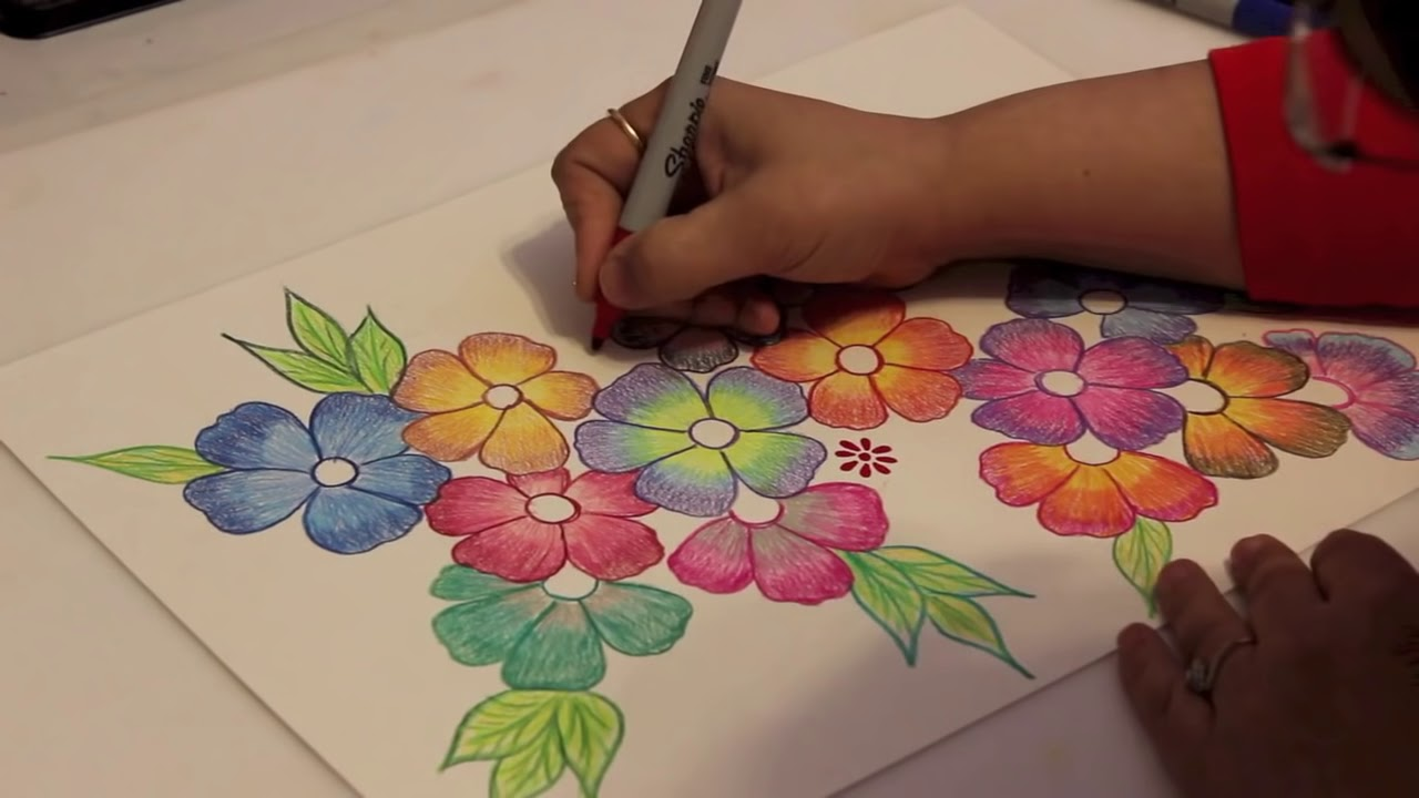 gradient flowers color pencil tutorial youtube