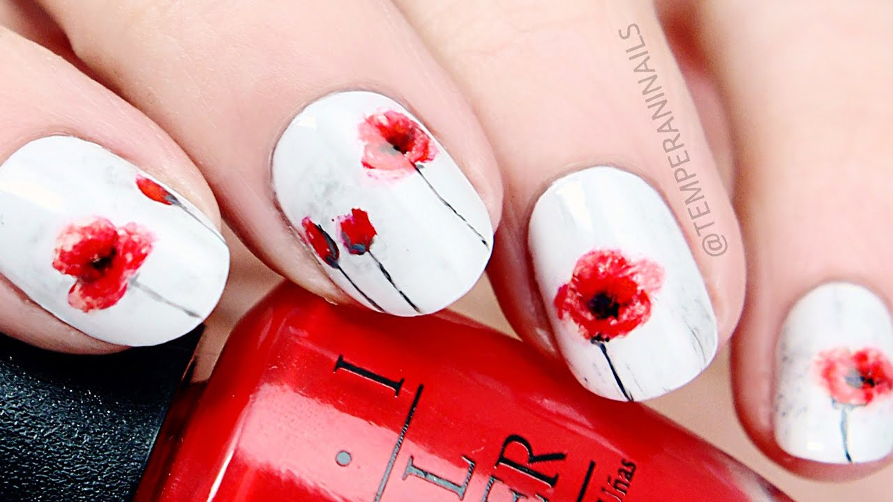poppy flower nail art tutorial youtube