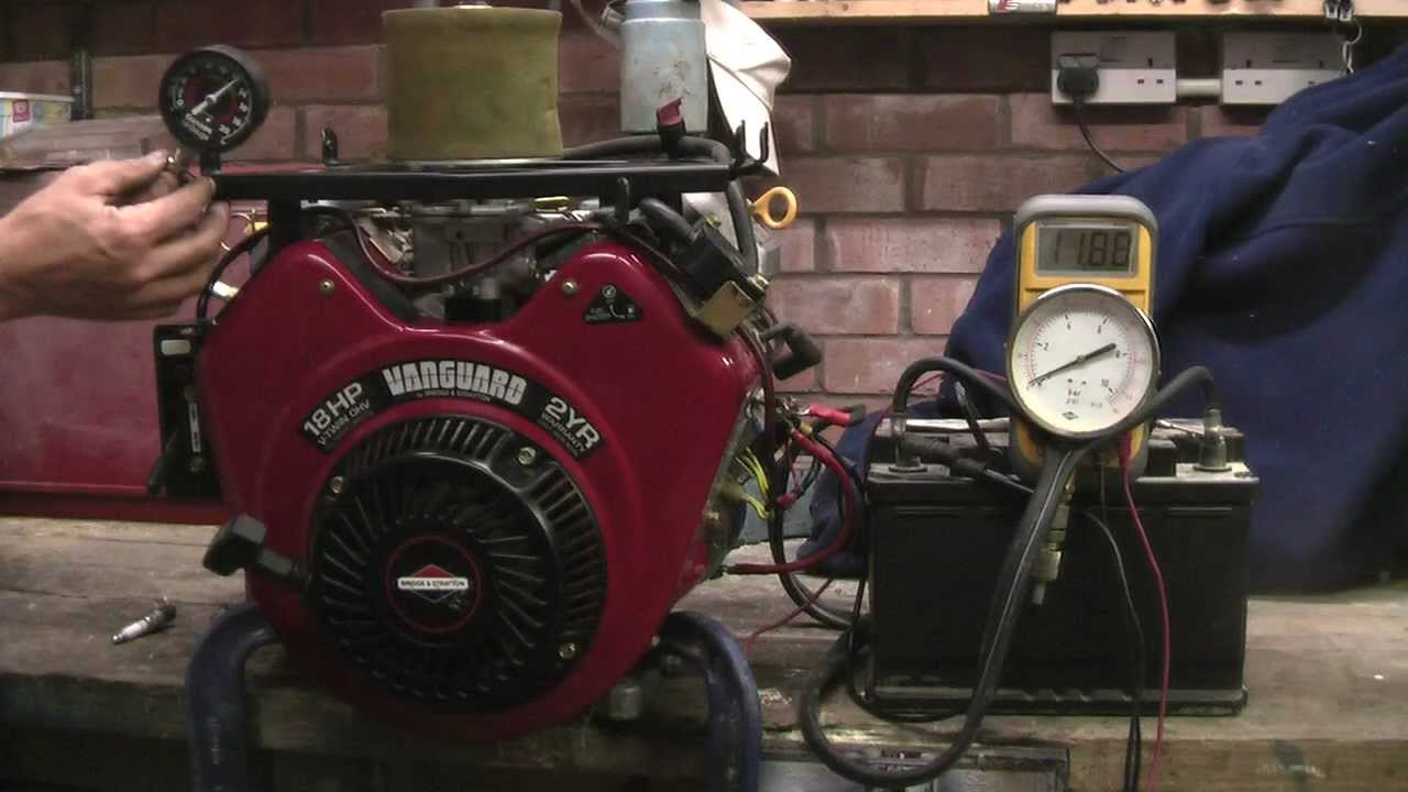 briggs stratton v twin vanguard engine 18hp oil cylinder pressure charging checks youtube [ 1280 x 720 Pixel ]